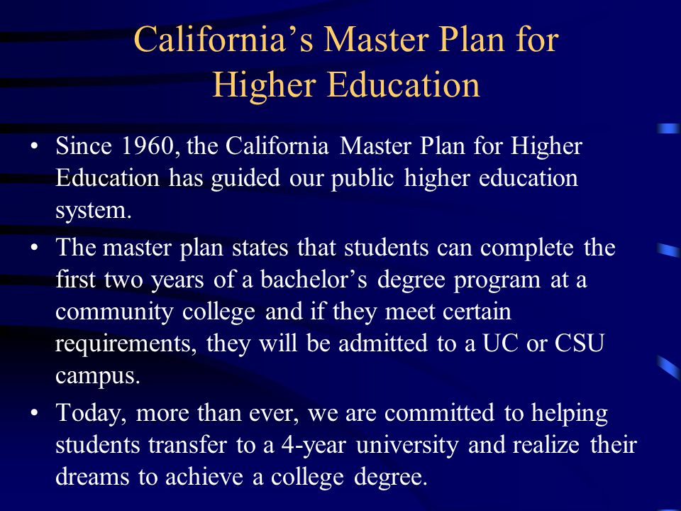 California's Master Plan for Higher Education