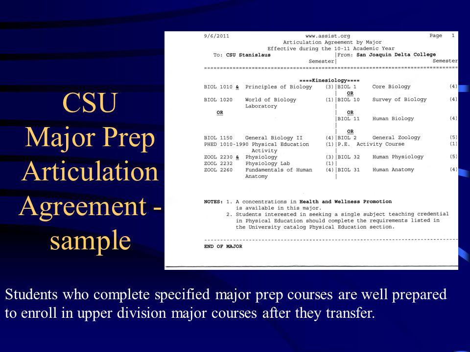 CSU Major Prep Articulation Agreement - sample