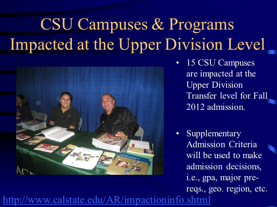 CSU Campuses & Programs Impacted at the Upper Division Level