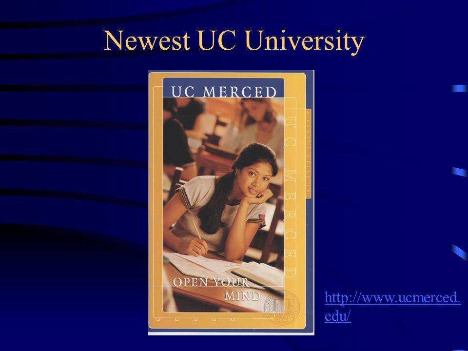 Newest UC University http://www.ucmerced.edu/