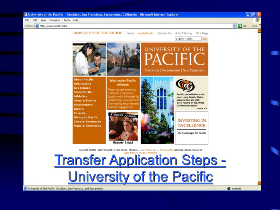 Transfer Application Steps - University of the Pacific