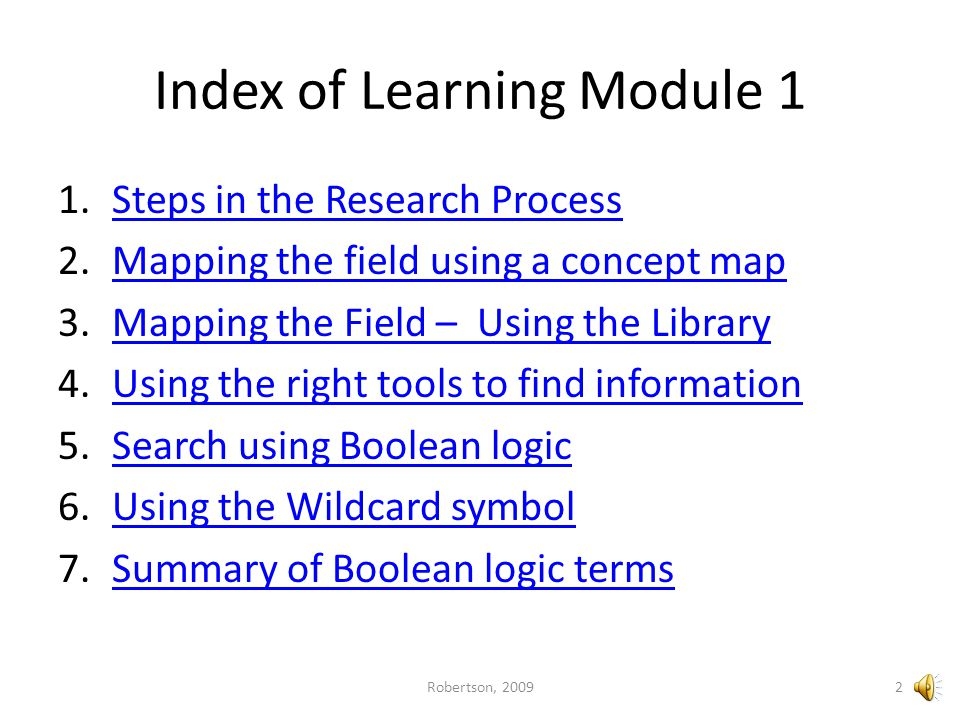 Index of Learning Module 1