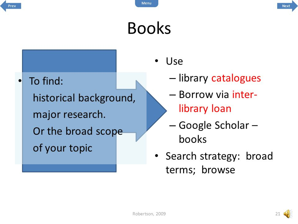 Books Use library catalogues Borrow via inter-library loan To find: