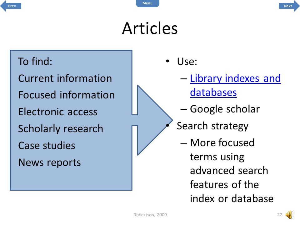Articles To find: Current information Focused information