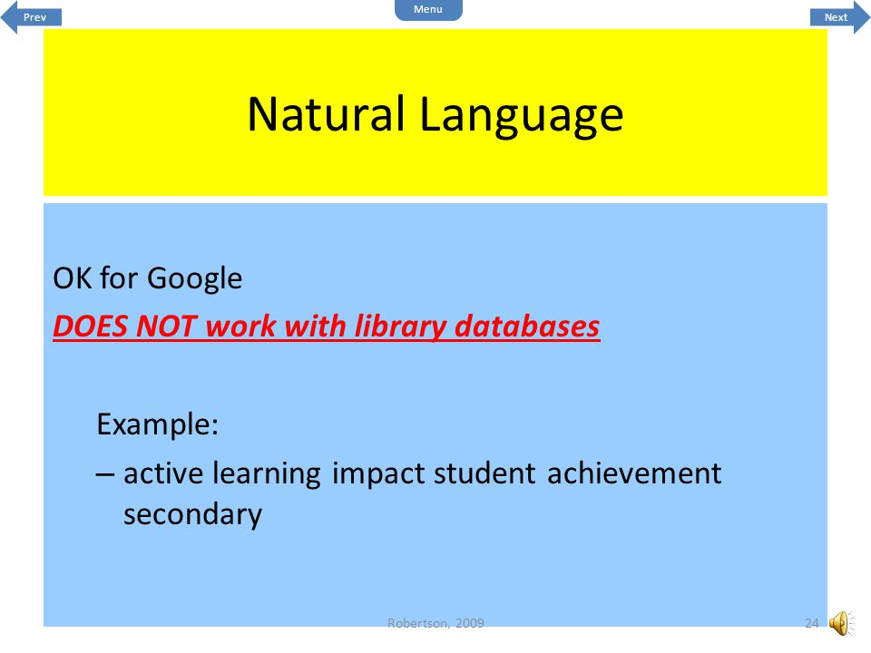 Natural Language OK for Google DOES NOT work with library databases