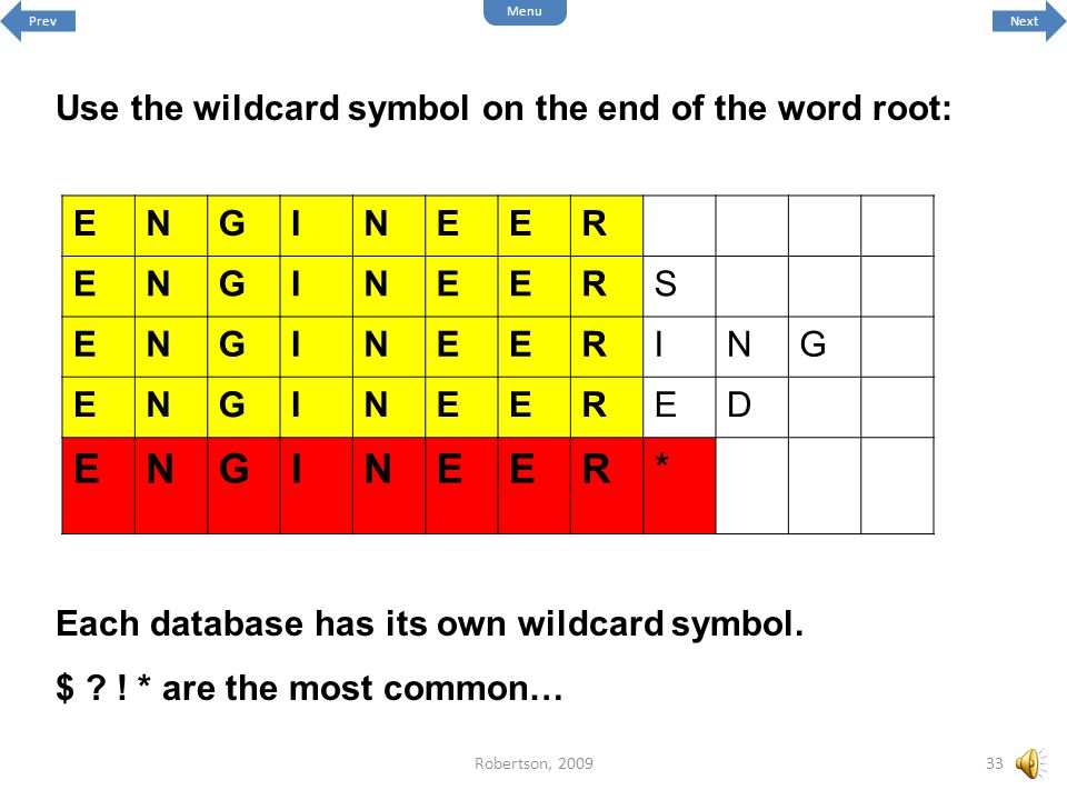 * Use the wildcard symbol on the end of the word root: E N G I R S D