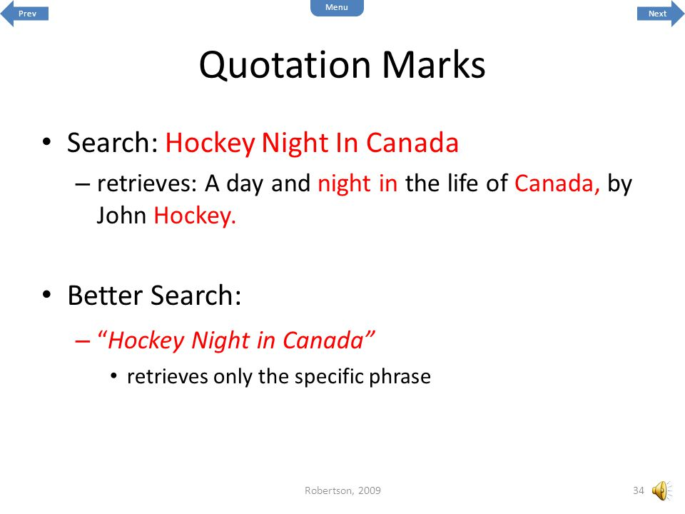 Quotation Marks Search: Hockey Night In Canada Better Search: