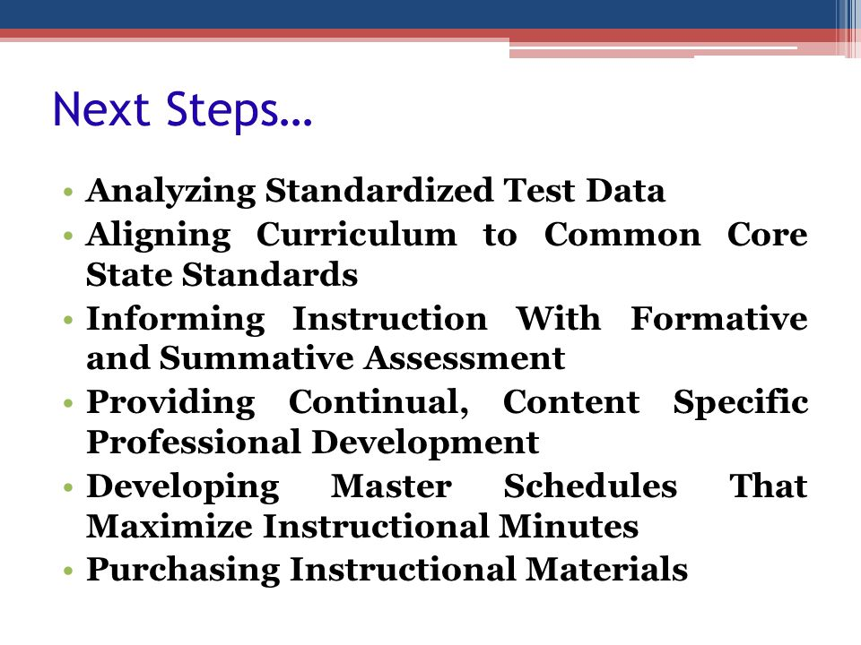 Next Steps… Analyzing Standardized Test Data