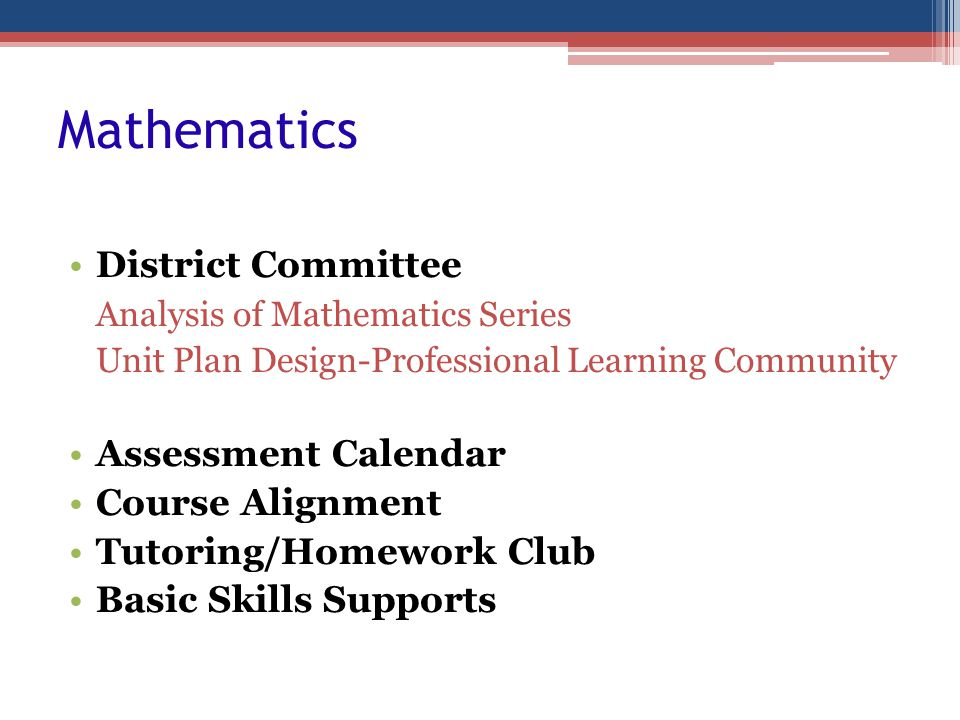 Mathematics District Committee Analysis of Mathematics Series