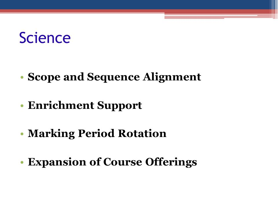 Science Scope and Sequence Alignment Enrichment Support