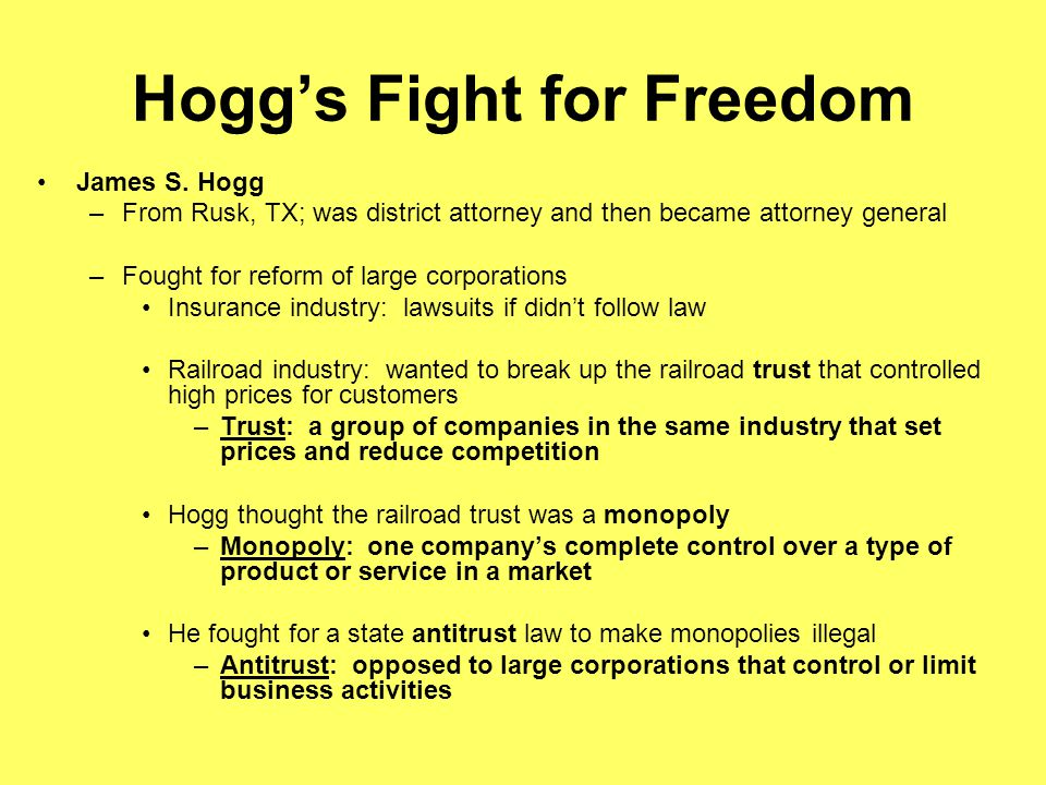 Hogg's Fight for Freedom