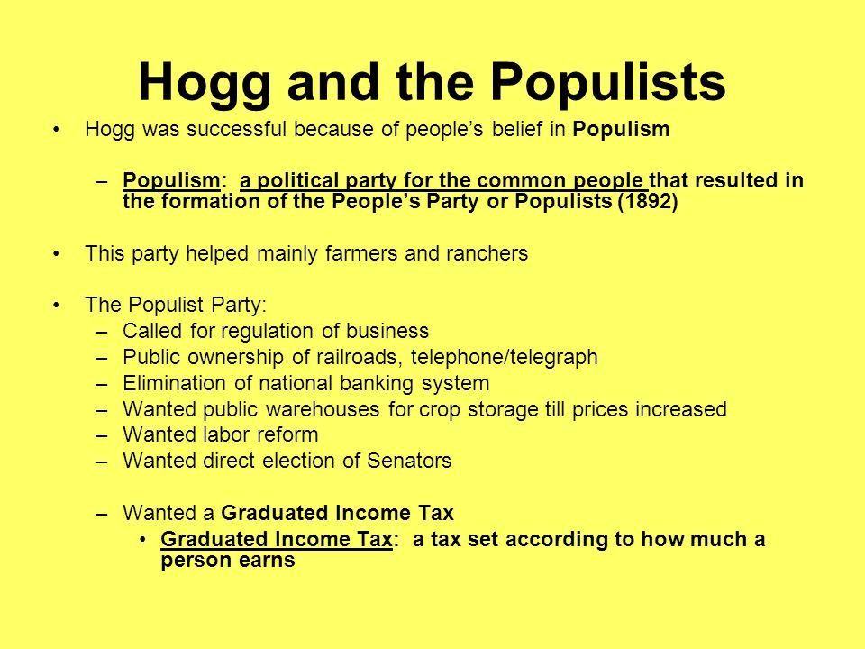 Hogg and the Populists Hogg was successful because of people's belief in Populism.