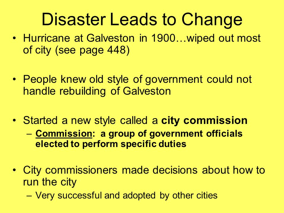 Disaster Leads to Change