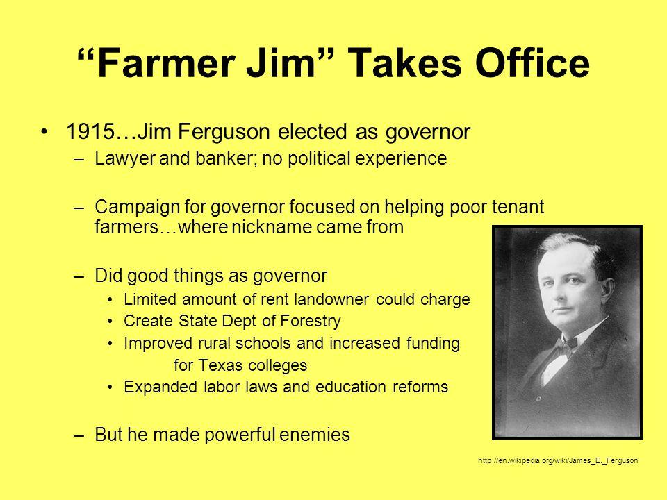 Farmer Jim Takes Office