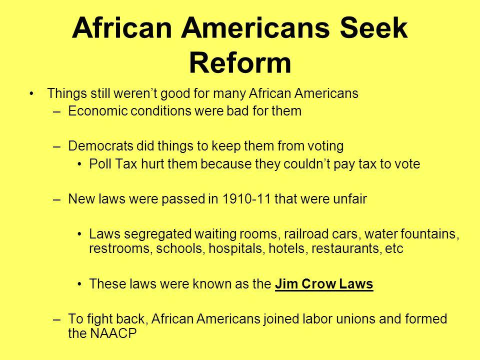 African Americans Seek Reform