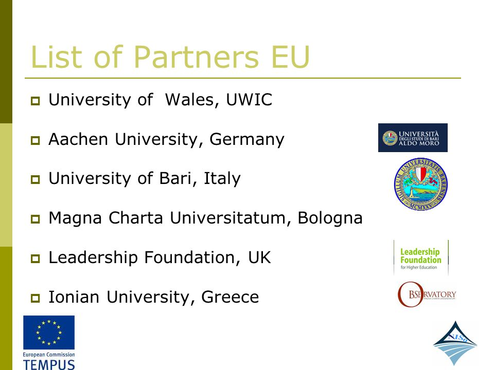 List of Partners EU University of Wales, UWIC