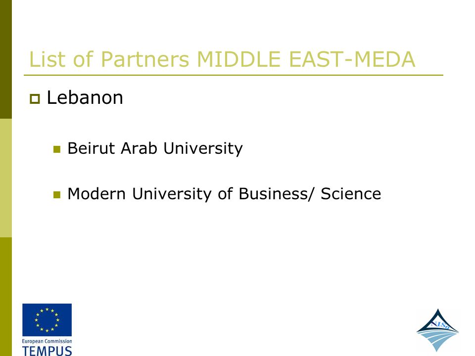 List of Partners MIDDLE EAST-MEDA