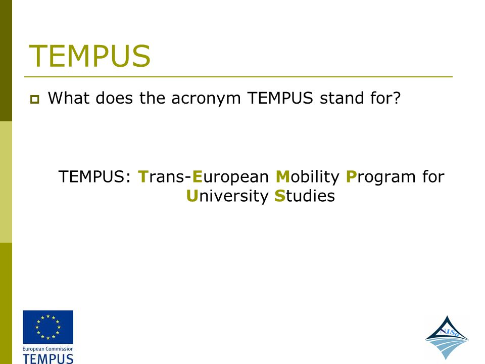 TEMPUS: Trans-European Mobility Program for University Studies