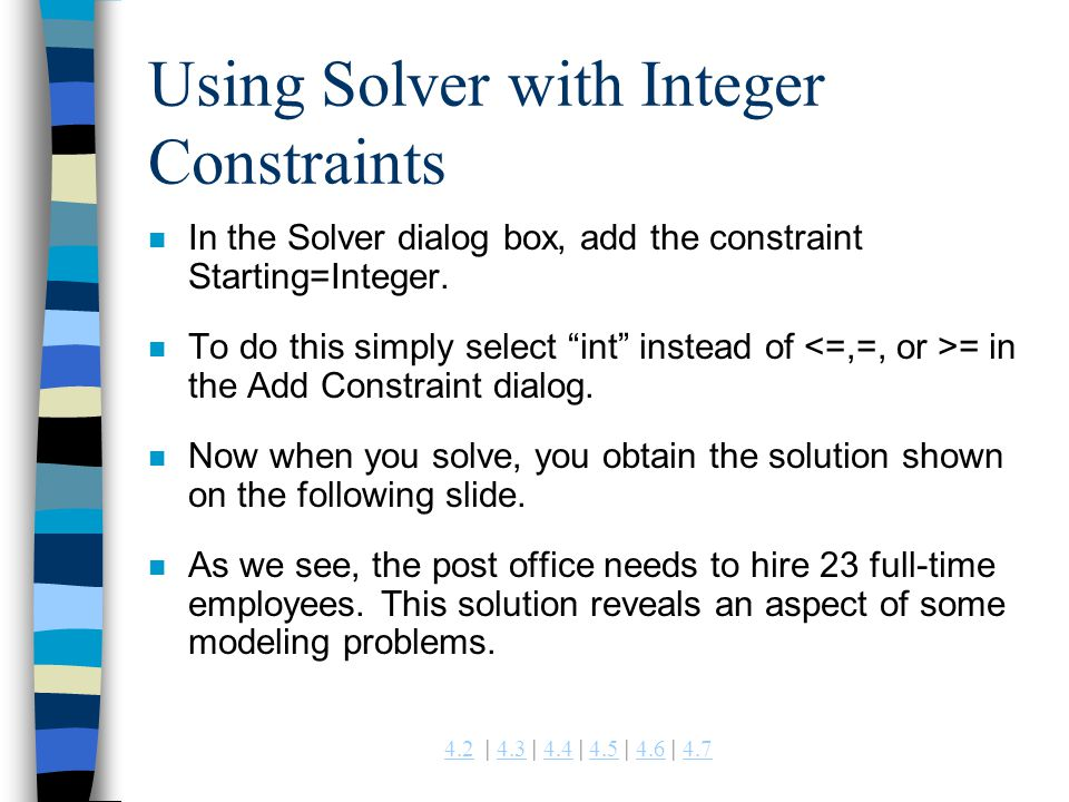 Using Solver with Integer Constraints
