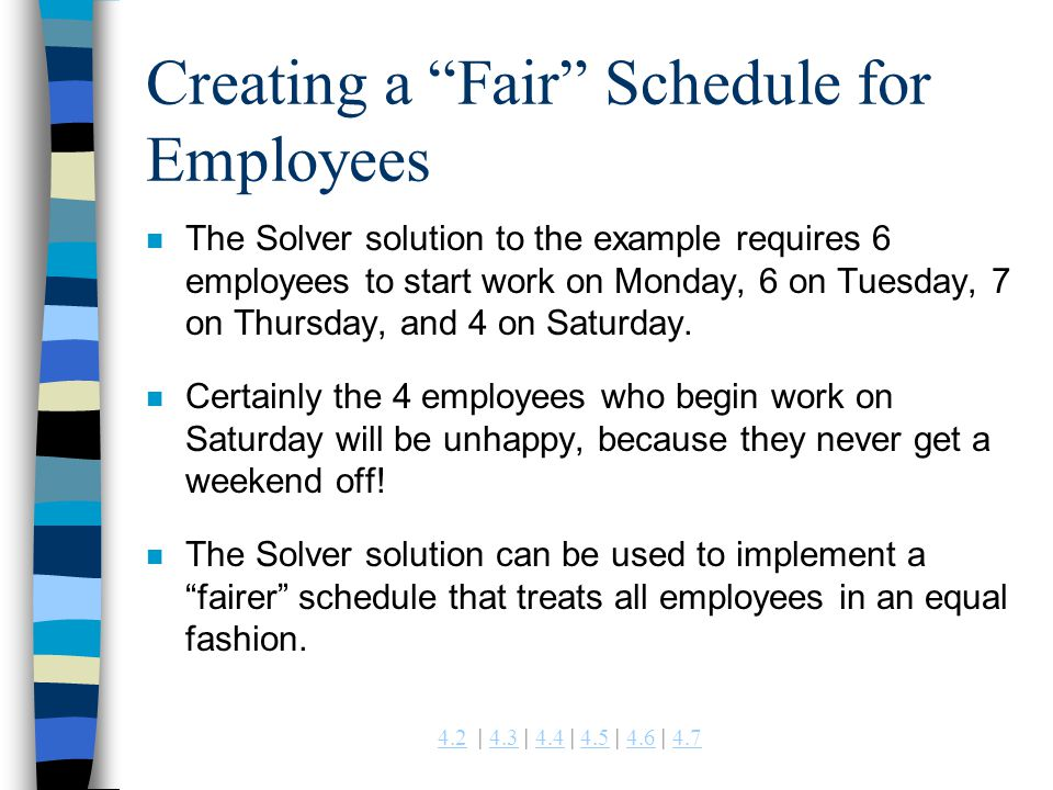 Creating a Fair Schedule for Employees