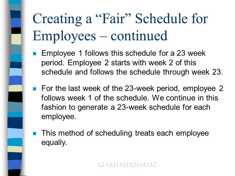 Creating a Fair Schedule for Employees – continued