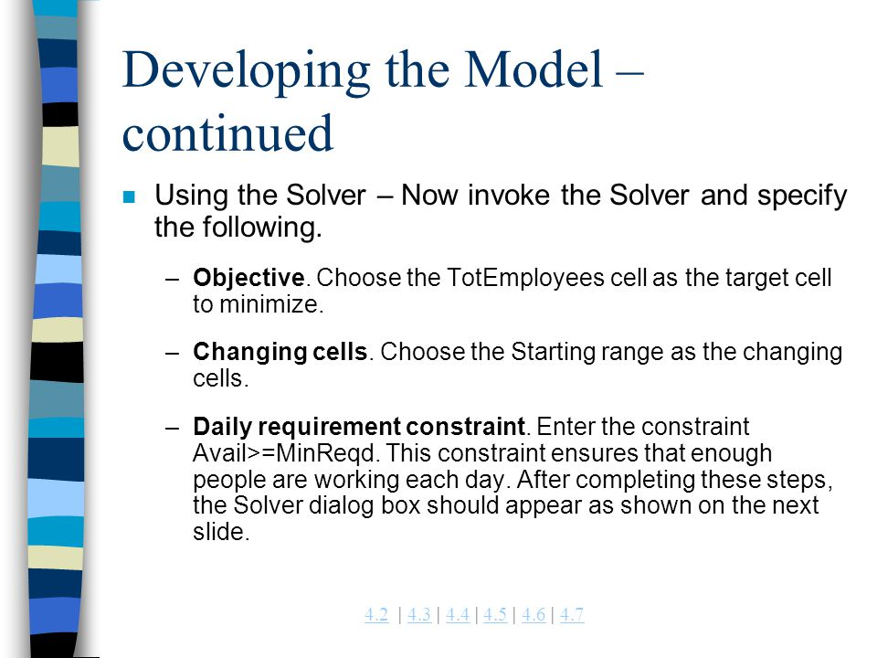 Developing the Model – continued