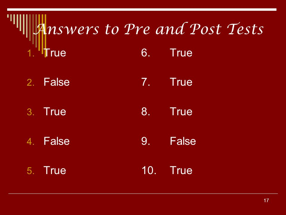 Answers to Pre and Post Tests