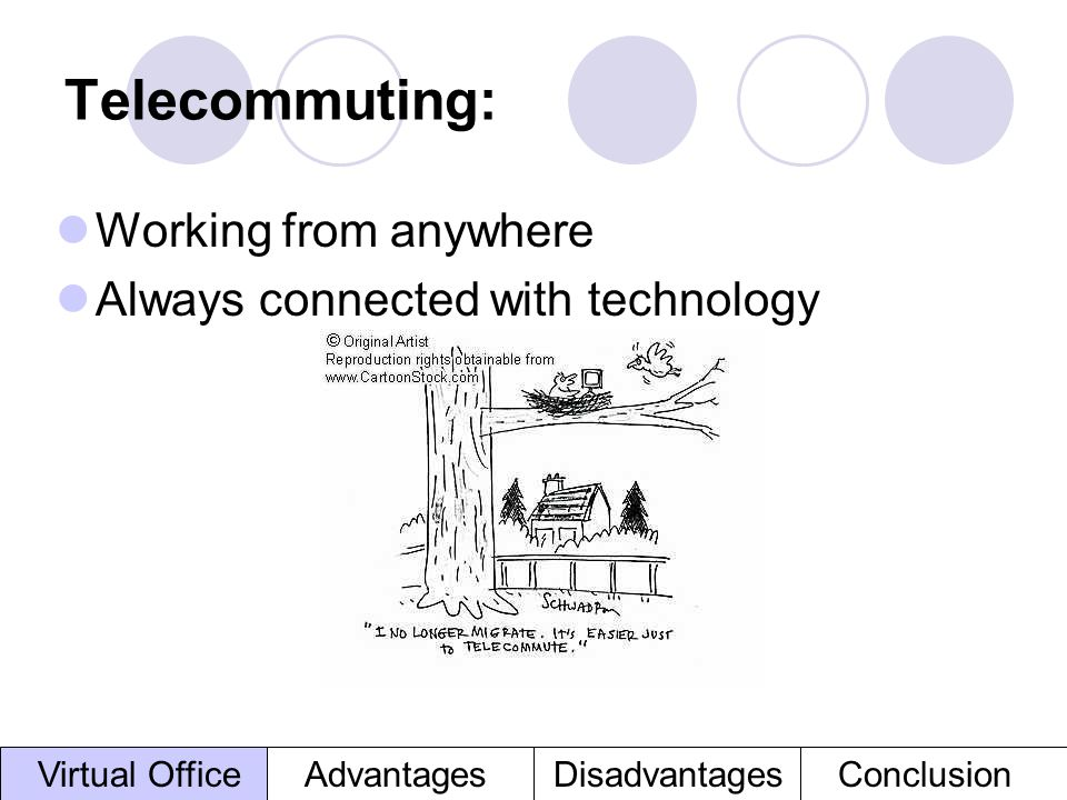 Telecommuting: Working from anywhere Always connected with technology