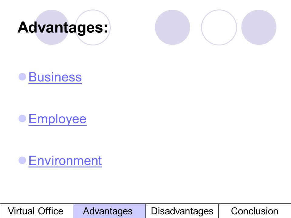 Advantages: Business Employee Environment Virtual Office Advantages