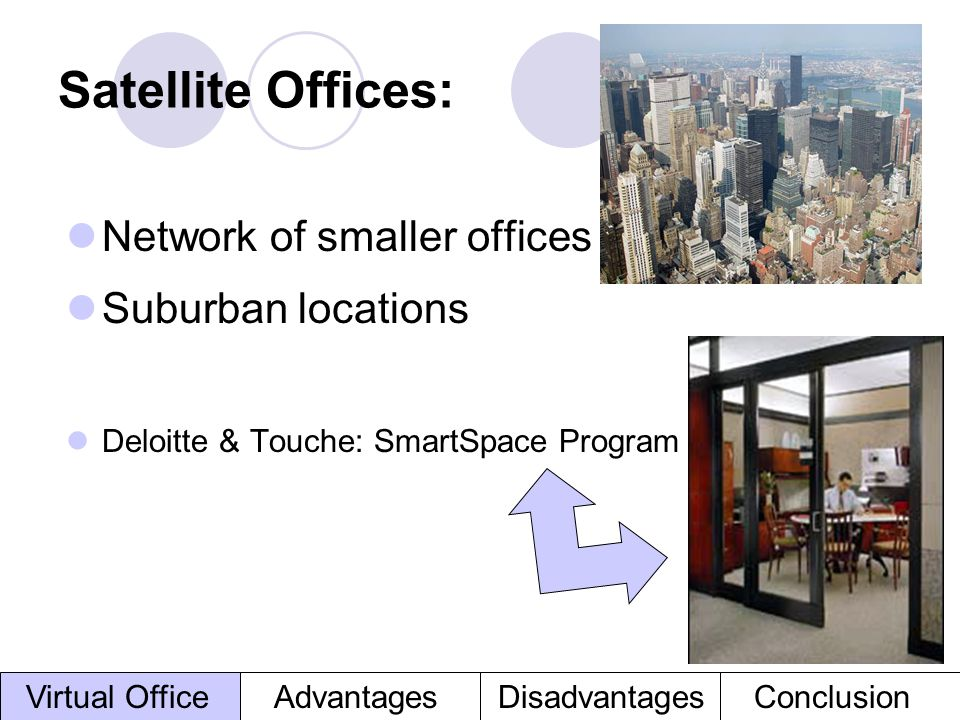 Satellite Offices: Network of smaller offices Suburban locations
