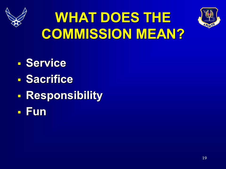 WHAT DOES THE COMMISSION MEAN