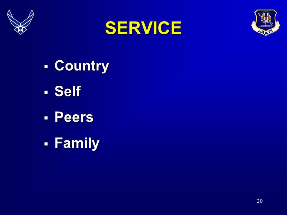 SERVICE Country Self Peers Family 19