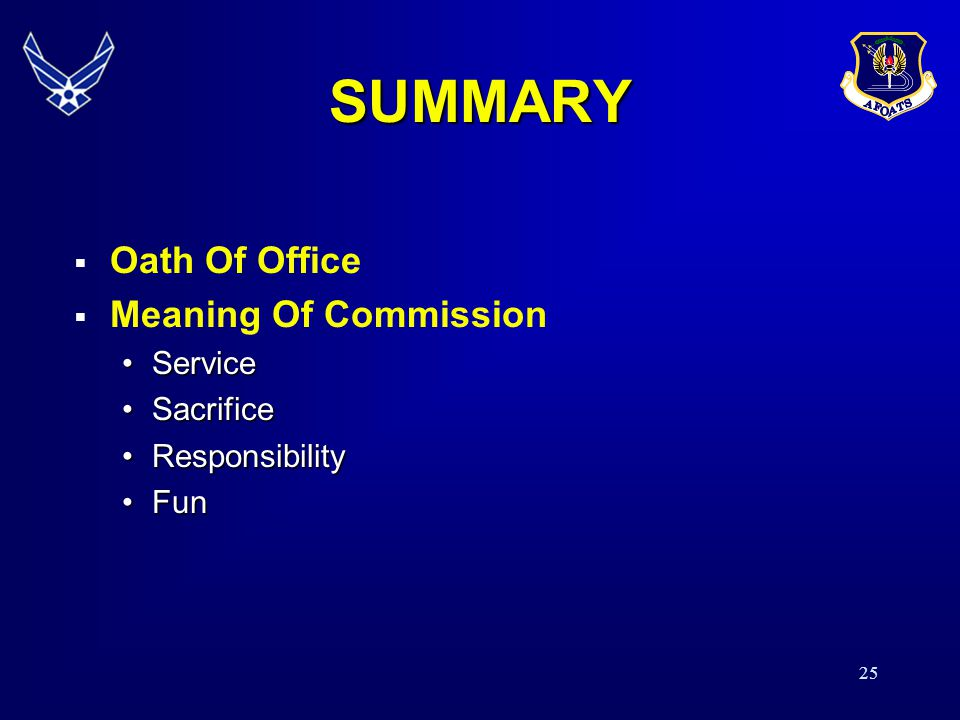 SUMMARY Oath Of Office Meaning Of Commission Service Sacrifice