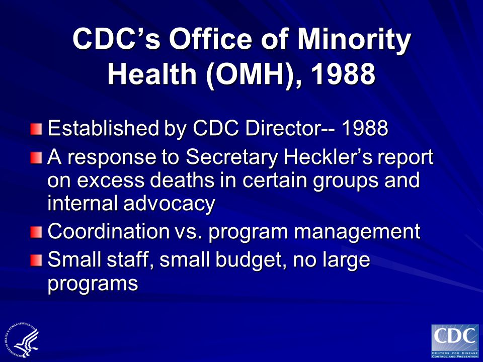 CDC's Office of Minority Health (OMH), 1988