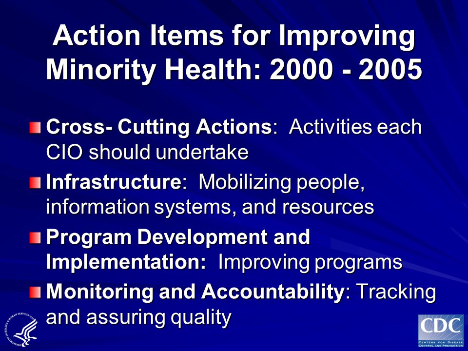 Action Items for Improving Minority Health: 2000 - 2005