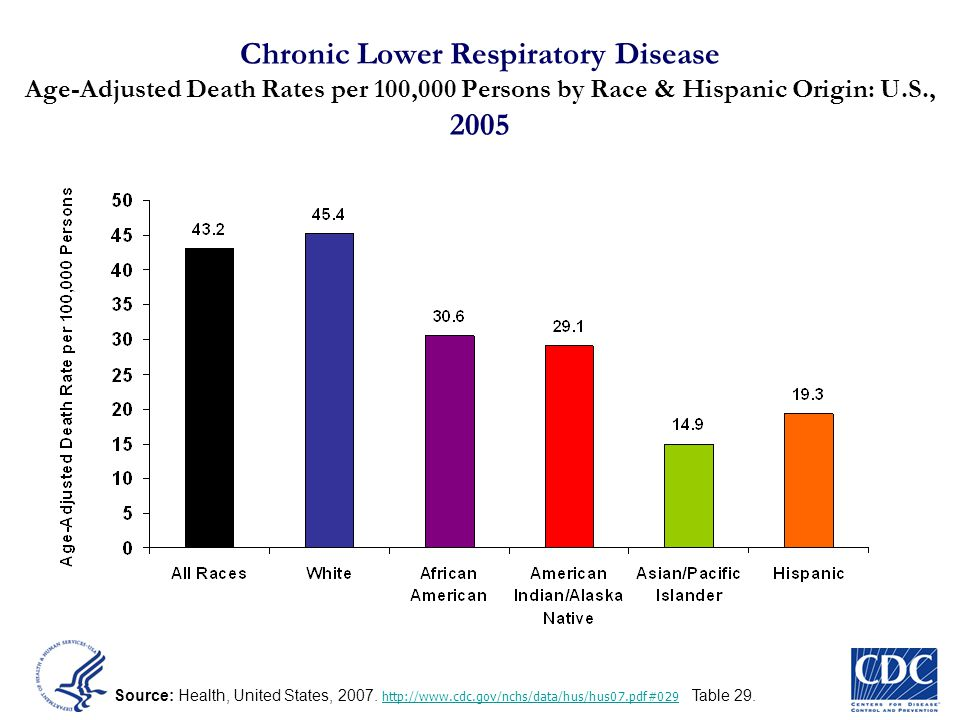 Chronic Lower Respiratory Disease Age-Adjusted Death Rates per 100,000 Persons by Race & Hispanic Origin: U.S., 2005