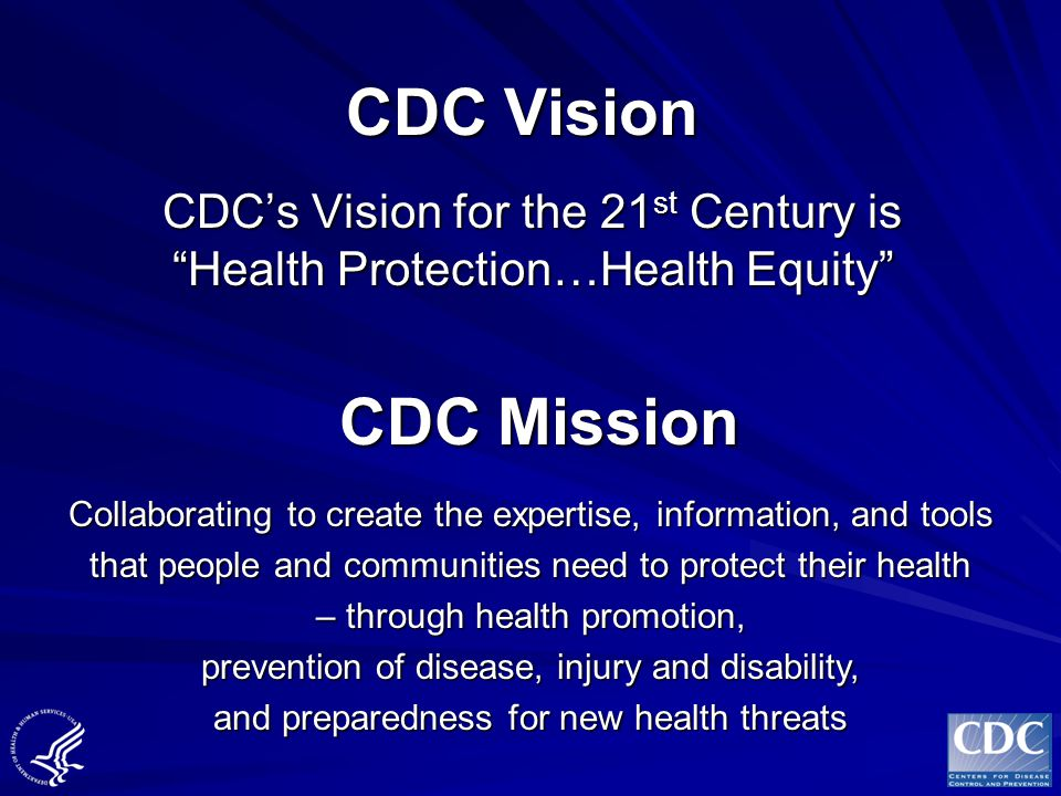 CDC Vision CDC's Vision for the 21st Century is Health Protection…Health Equity CDC Mission.