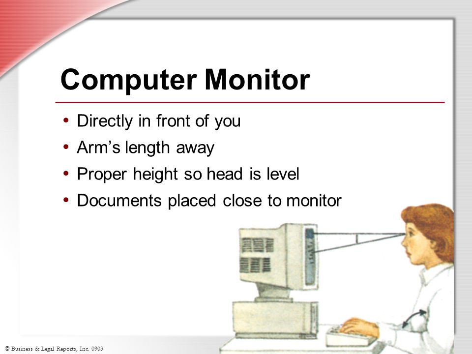 Computer Monitor Directly in front of you Arm's length away