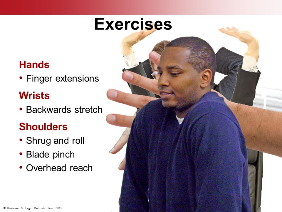 Exercises Hands Wrists Shoulders Finger extensions Backwards stretch
