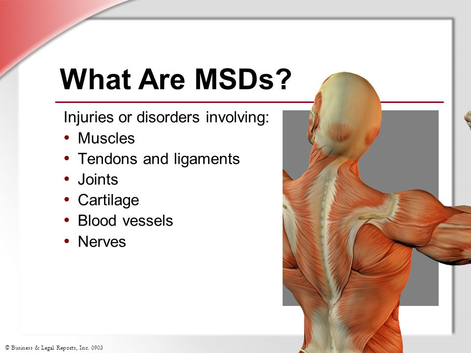 What Are MSDs Injuries or disorders involving: Muscles
