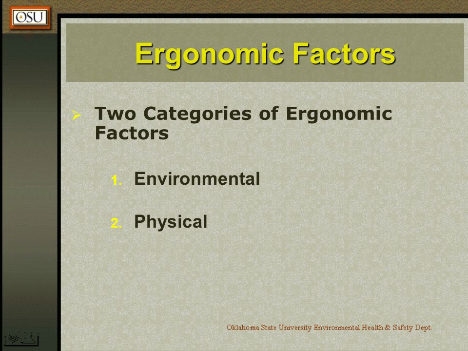 Ergonomic Factors Two Categories of Ergonomic Factors Environmental