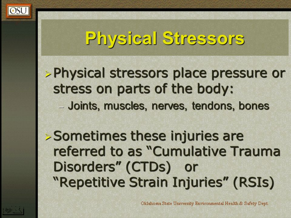 Physical Stressors Physical stressors place pressure or stress on parts of the body: Joints, muscles, nerves, tendons, bones.