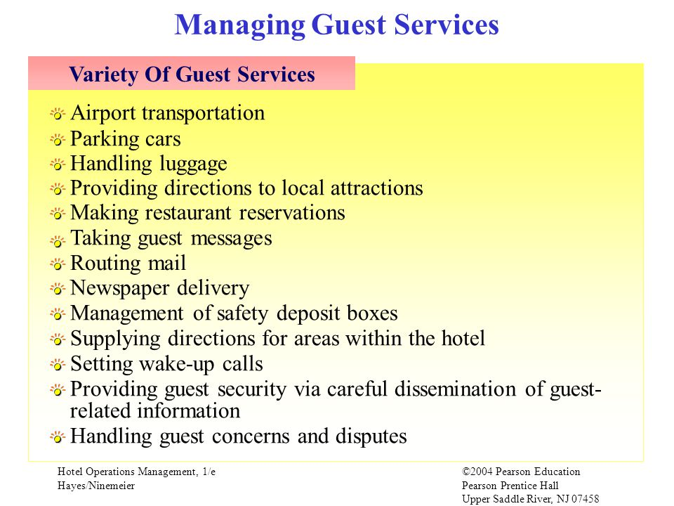 Managing Guest Services Variety Of Guest Services
