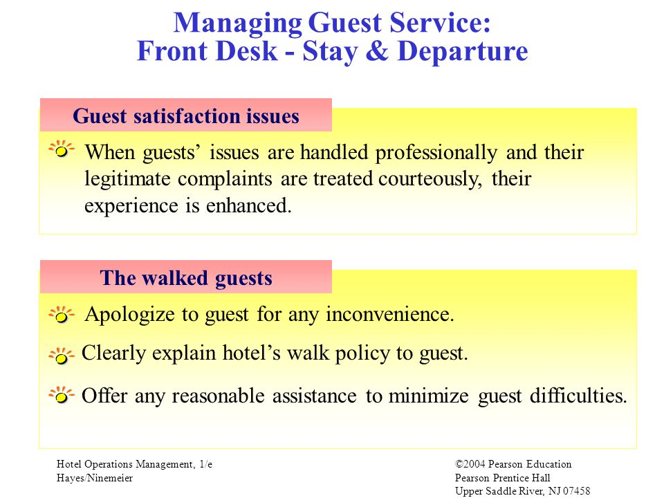 Managing Guest Service: Front Desk - Stay & Departure