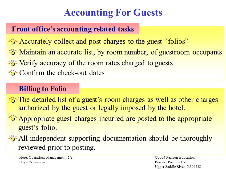 Front office's accounting related tasks