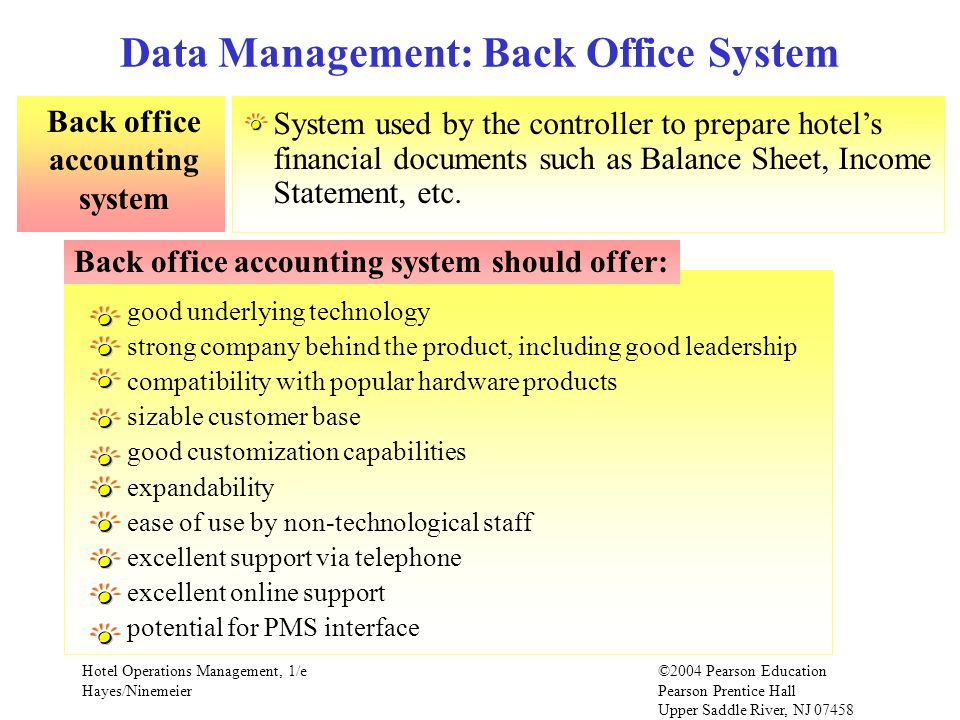 Data Management: Back Office System
