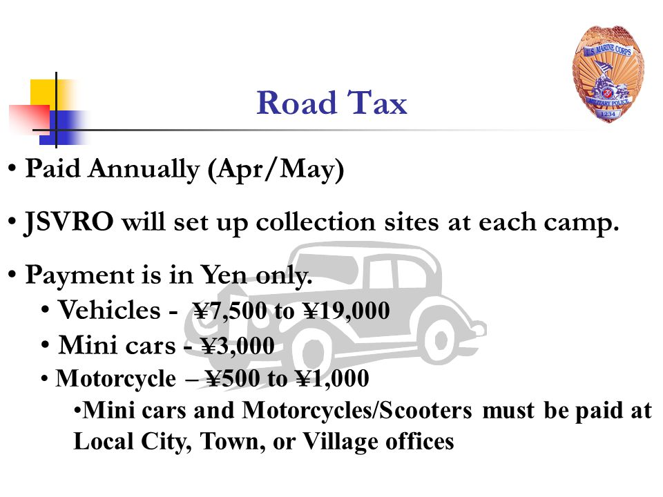Road Tax Paid Annually (Apr/May)