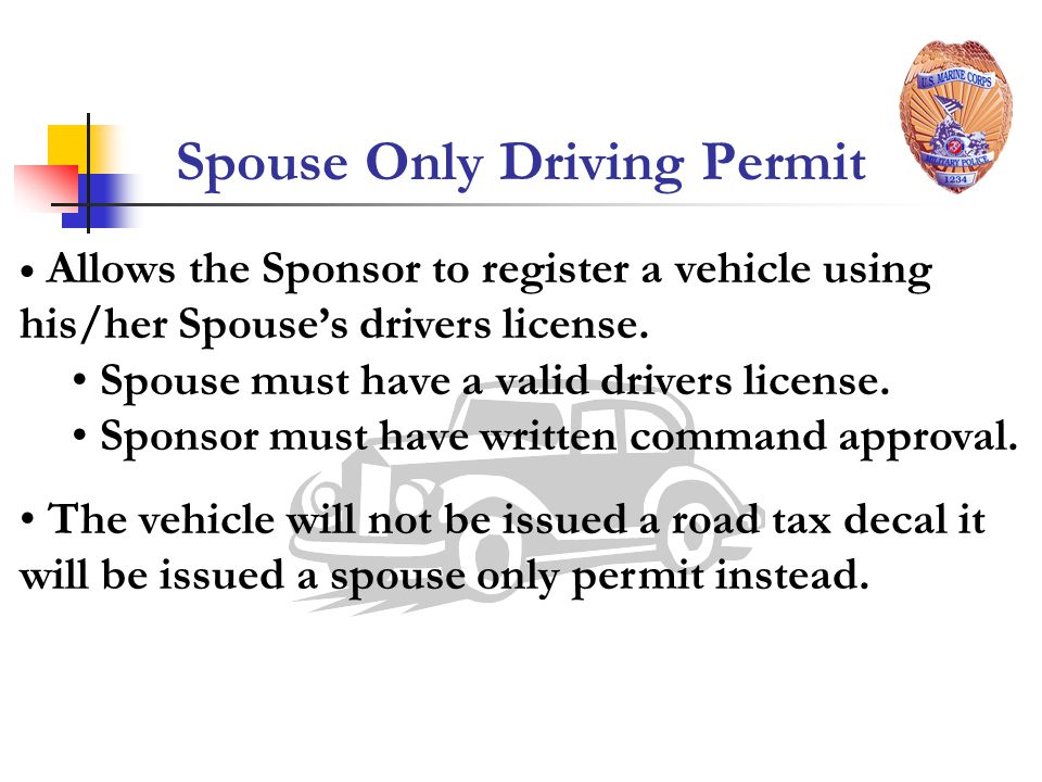 Spouse Only Driving Permit
