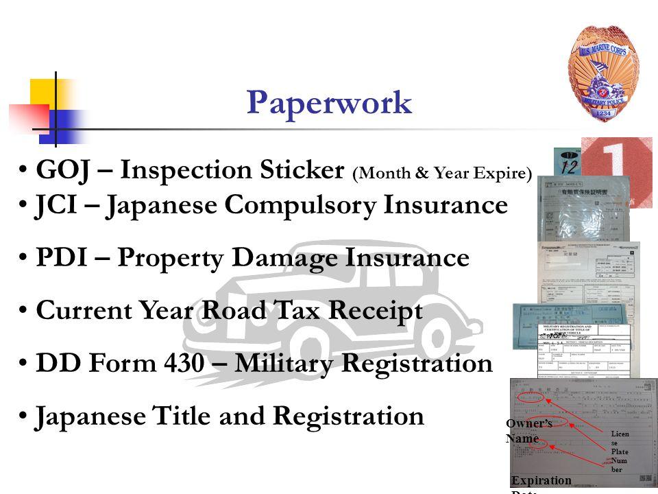 Paperwork GOJ – Inspection Sticker (Month & Year Expire)