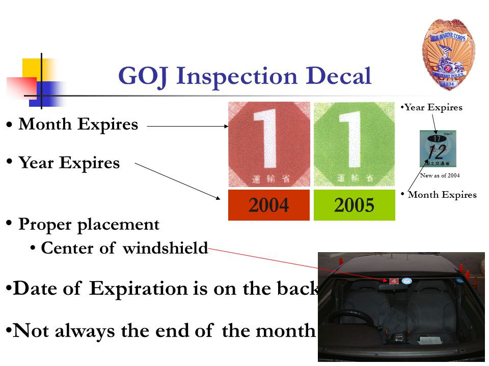 GOJ Inspection Decal Year Expires Proper placement